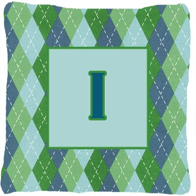 Monogram Initial Blue Argyle Indoor/Outdoor Throw Pillow Letter: I