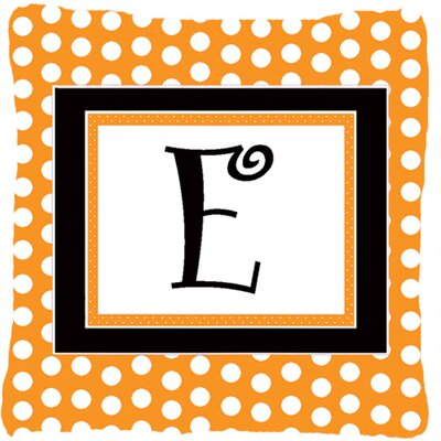 Monogram Initial Orange Polkadots Indoor/Outdoor Throw Pillow Letter: E