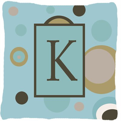 Monogram Initial Blue Dots Indoor/Outdoor Throw Pillow Letter: K