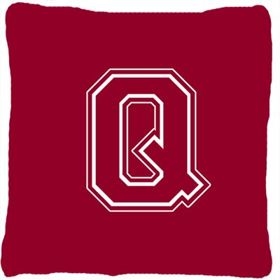 Monogram Initial Maroon and White Indoor/Outdoor Throw Pillow Letter: Q