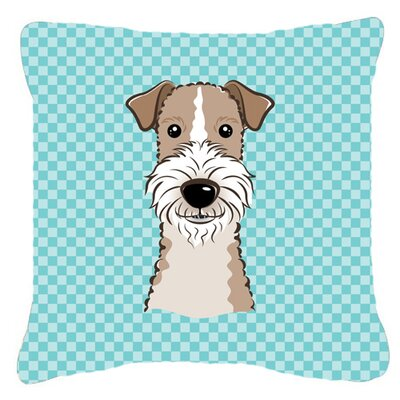 Checkerboard Wire Haired Fox Terrier Indoor/Outdoor Throw Pillow Color: Blue, Size: 14 H x 14 W x 4 D