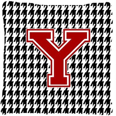 Monogram Initial Houndstooth Indoor/Outdoor Throw Pillow Letter: Y