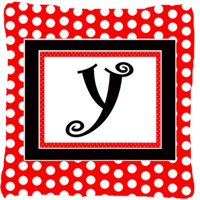 Monogram Initial Red Black Polka Dots Indoor/Outdoor Throw Pillow Letter: Y