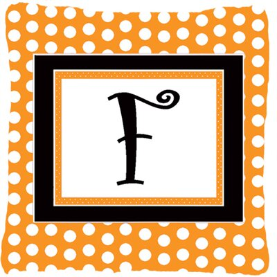 Monogram Initial Orange Polkadots Indoor/Outdoor Throw Pillow Letter: F