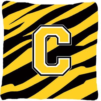 Monogram Initial Tiger Stripe Indoor/Outdoor Throw Pillow Letter: C