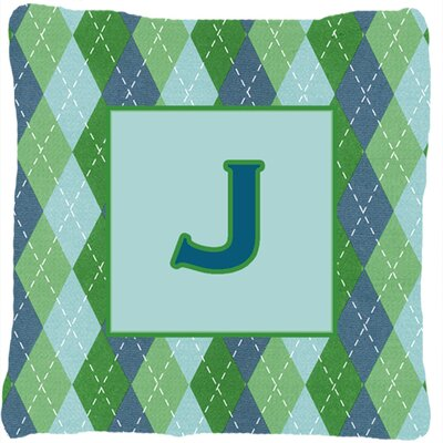 Monogram Initial Blue Argyle Indoor/Outdoor Throw Pillow Letter: J