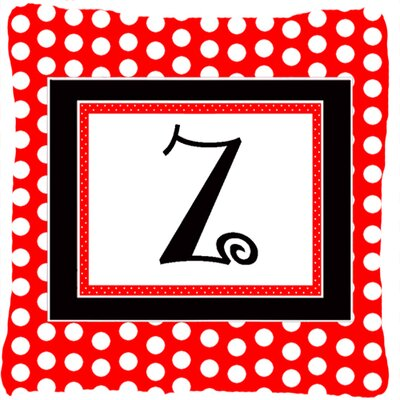 Monogram Initial Red Black Polka Dots Indoor/Outdoor Throw Pillow Letter: Z