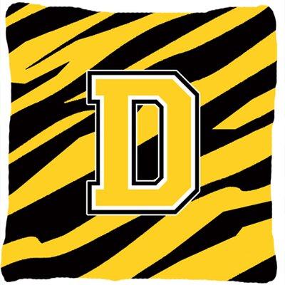 Monogram Initial Tiger Stripe Indoor/Outdoor Throw Pillow Letter: D