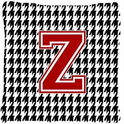 Monogram Initial Houndstooth Indoor/Outdoor Throw Pillow Letter: Z