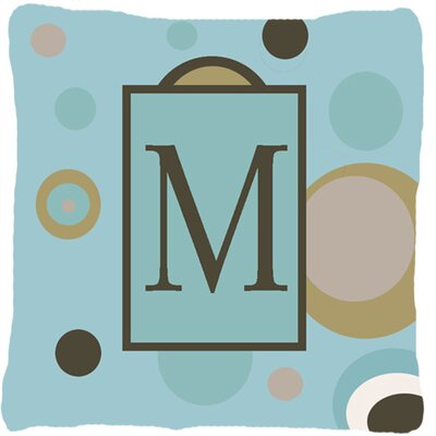 Monogram Initial Blue Dots Indoor/Outdoor Throw Pillow Letter: M