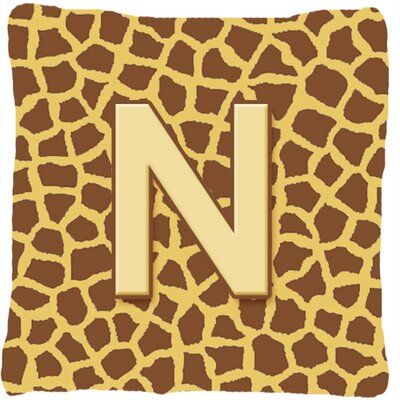 Monogram Initial Giraffe Indoor/Outdoor Throw Pillow Letter: N