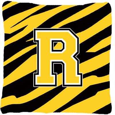 Monogram Initial Tiger Stripe Indoor/Outdoor Throw Pillow Letter: R