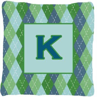 Monogram Initial Blue Argyle Indoor/Outdoor Throw Pillow Letter: K