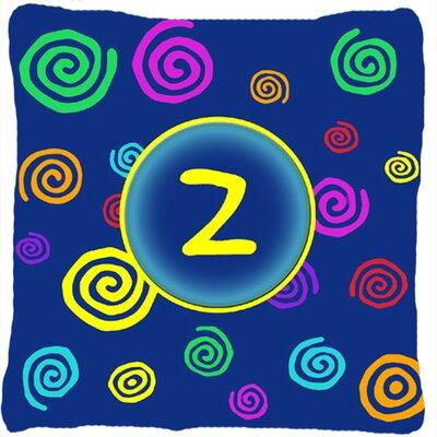 Monogram Initial Blue Swirls Indoor/Outdoor Throw Pillow Letter: Z