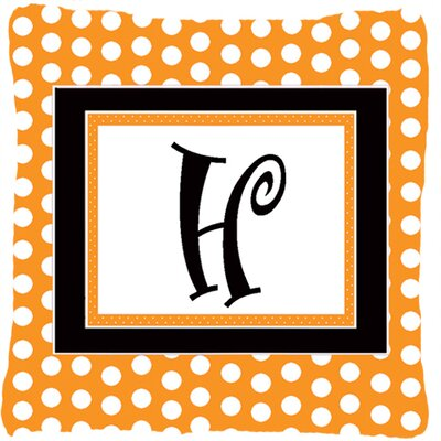 Monogram Initial Orange Polkadots Indoor/Outdoor Throw Pillow Letter: H