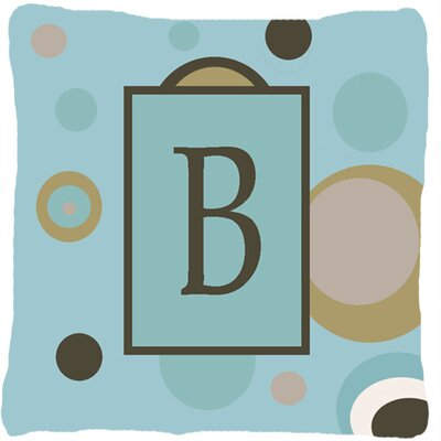 Monogram Initial Blue Dots Indoor/Outdoor Throw Pillow Letter: B
