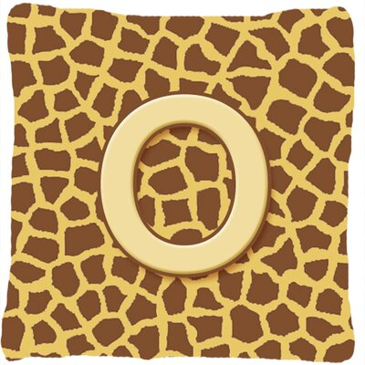 Monogram Initial Giraffe Indoor/Outdoor Throw Pillow Letter: O
