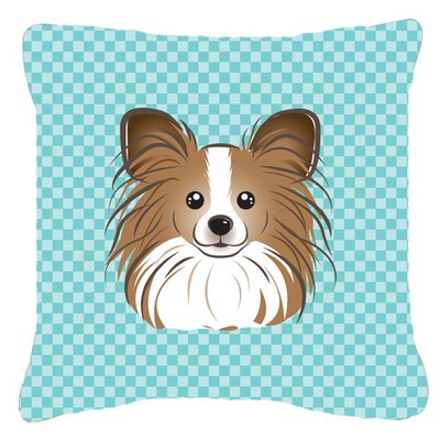 Checkerboard Papillion Indoor/Outdoor Throw Pillow Color: Blue, Size: 14 H x 14 W x 4 D