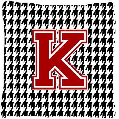 Monogram Initial Houndstooth Indoor/Outdoor Throw Pillow Letter: K