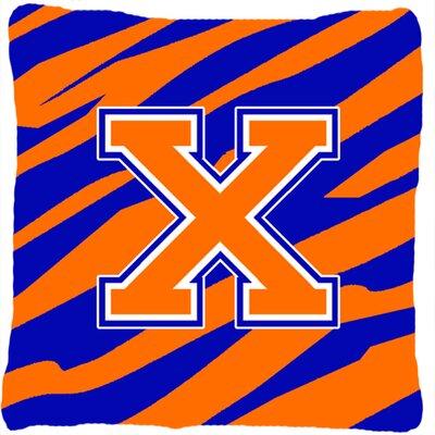 Monogram Initial Tiger Stripe Indoor/Outdoor Throw Pillow Letter: X