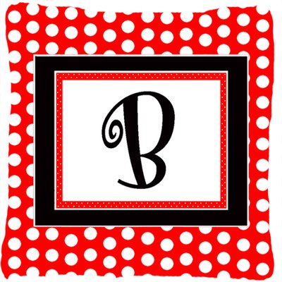 Monogram Initial Red Black Polka Dots Indoor/Outdoor Throw Pillow Letter: B