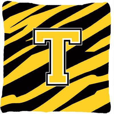 Monogram Initial Tiger Stripe Indoor/Outdoor Throw Pillow Letter: T