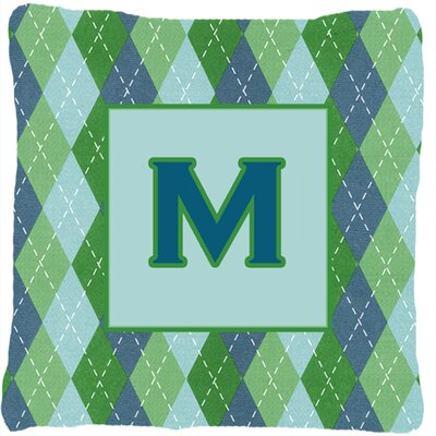 Monogram Initial Blue Argyle Indoor/Outdoor Throw Pillow Letter: M