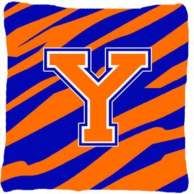 Monogram Initial Tiger Stripe Indoor/Outdoor Throw Pillow Letter: Y