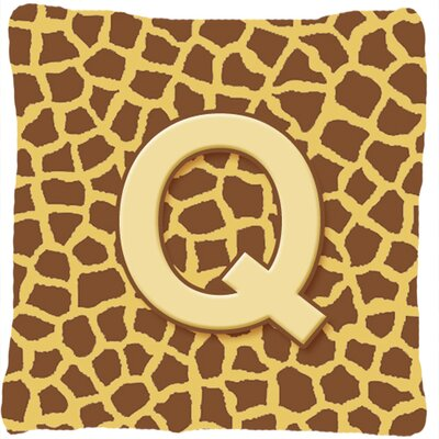 Monogram Initial Giraffe Indoor/Outdoor Throw Pillow Letter: Q