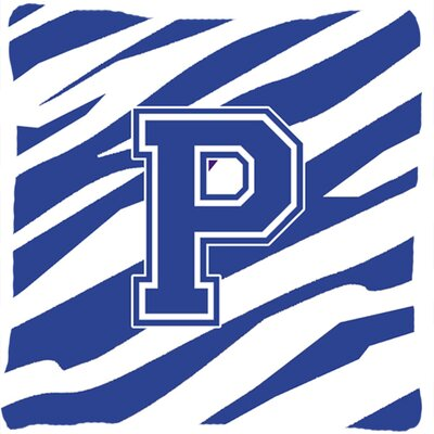 Monogram Initial Tiger Stripe Indoor/Outdoor Throw Pillow Letter: P