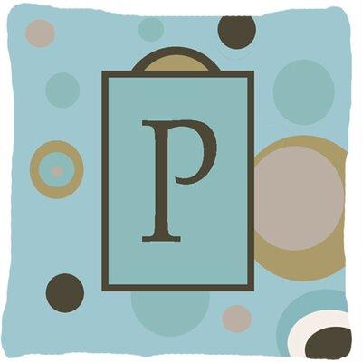 Monogram Initial Blue Dots Indoor/Outdoor Throw Pillow Letter: P