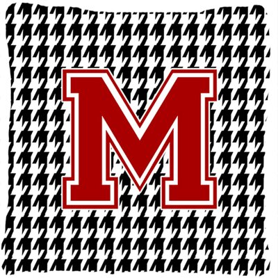 Monogram Initial Houndstooth Indoor/Outdoor Throw Pillow Letter: M