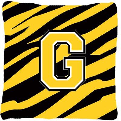 Monogram Initial Tiger Stripe Indoor/Outdoor Throw Pillow Letter: G