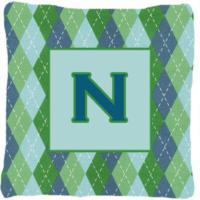 Monogram Initial Blue Argyle Indoor/Outdoor Throw Pillow Letter: N