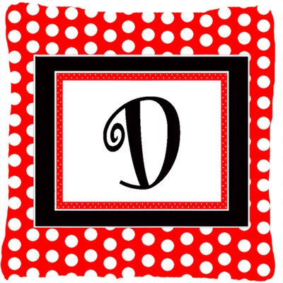 Monogram Initial Red Black Polka Dots Indoor/Outdoor Throw Pillow Letter: D