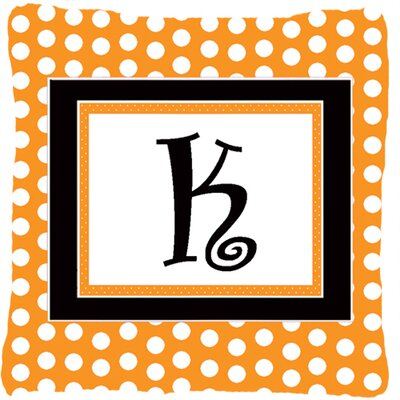 Monogram Initial Orange Polkadots Indoor/Outdoor Throw Pillow Letter: K