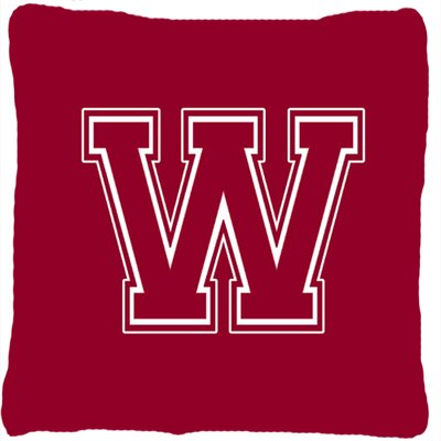 Monogram Initial Maroon and White Indoor/Outdoor Throw Pillow Letter: W