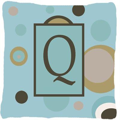 Monogram Initial Blue Dots Indoor/Outdoor Throw Pillow Letter: Q
