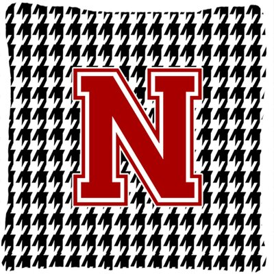 Monogram Initial Houndstooth Indoor/Outdoor Throw Pillow Letter: N