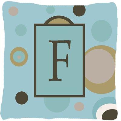 Monogram Initial Blue Dots Indoor/Outdoor Throw Pillow Letter: F
