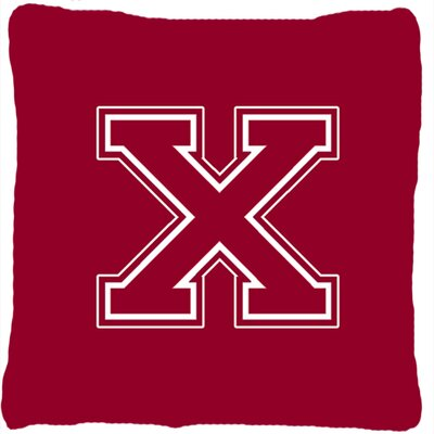 Monogram Initial Maroon and White Indoor/Outdoor Throw Pillow Letter: X