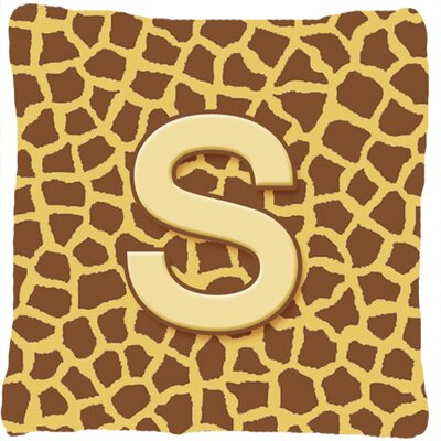 Monogram Initial Giraffe Indoor/Outdoor Throw Pillow Letter: S