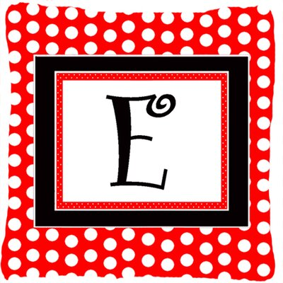 Monogram Initial Red Black Polka Dots Indoor/Outdoor Throw Pillow Letter: E