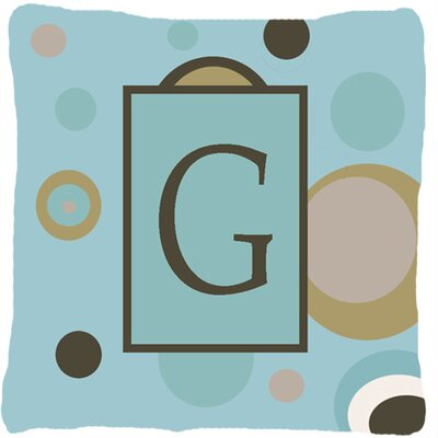 Monogram Initial Blue Dots Indoor/Outdoor Throw Pillow Letter: G