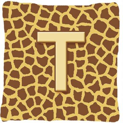 Monogram Initial Giraffe Indoor/Outdoor Throw Pillow Letter: T