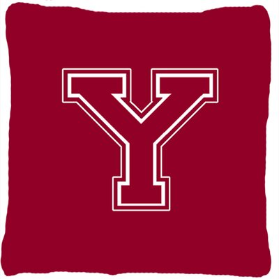 Monogram Initial Maroon and White Indoor/Outdoor Throw Pillow Letter: Y