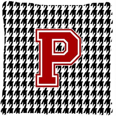 Monogram Initial Houndstooth Indoor/Outdoor Throw Pillow Letter: P