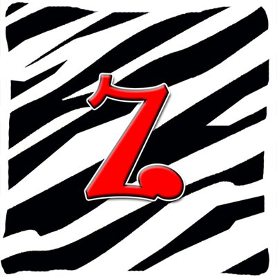 Monogram Initial Zebra Indoor/Outdoor Throw Pillow Letter: Z