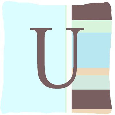 Letter Initial Monogram Blue Stripes Indoor/Outdoor Throw Pillow Letter: U