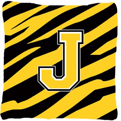 Monogram Initial Tiger Stripe Indoor/Outdoor Throw Pillow Letter: J